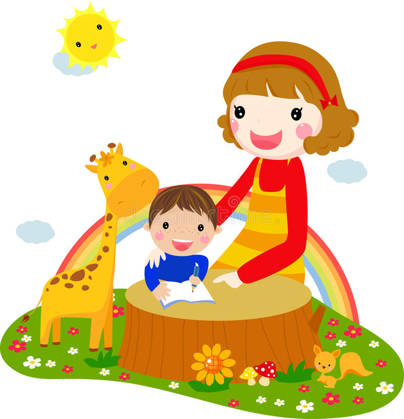 Child listening his mother read a storytelling boo vector illustration