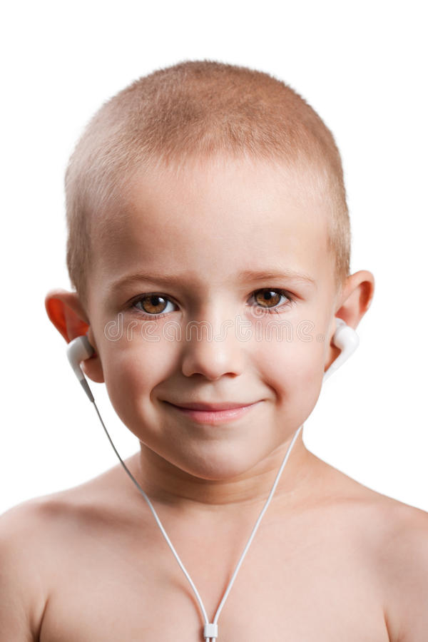 Download Child listening music stock image. Image of close, male - 15563569