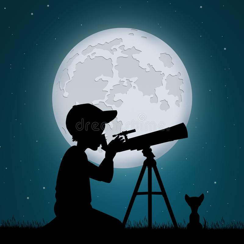 Child look the moon in the telescope. Illustration of child look the moon in the telescope stock illustration