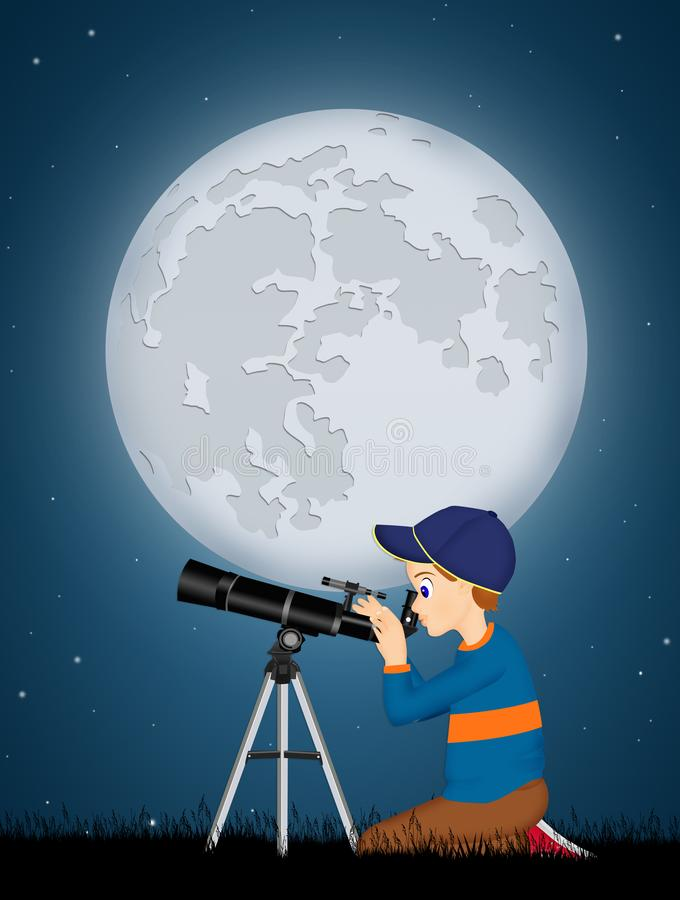 Child look in the telescope. Illustration of child look in the telescope vector illustration