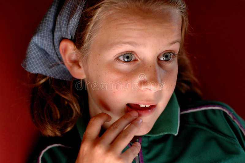 Child looking amazed. Nikon D70, close-up portrait of girl stock images