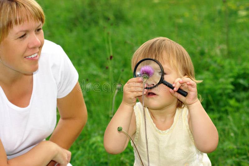 Child looking at flower through magnifying glass royalty free stock image
