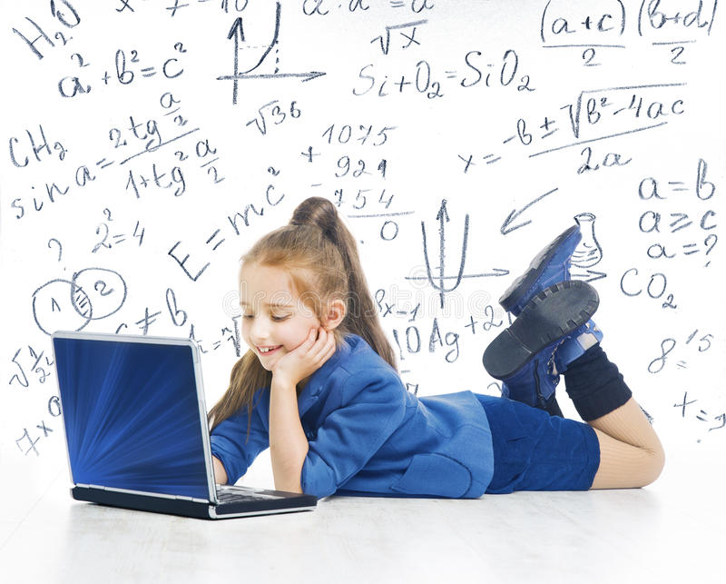 Child Looking at Laptop, Kid with Computer, Little Girl Notebook royalty free stock images