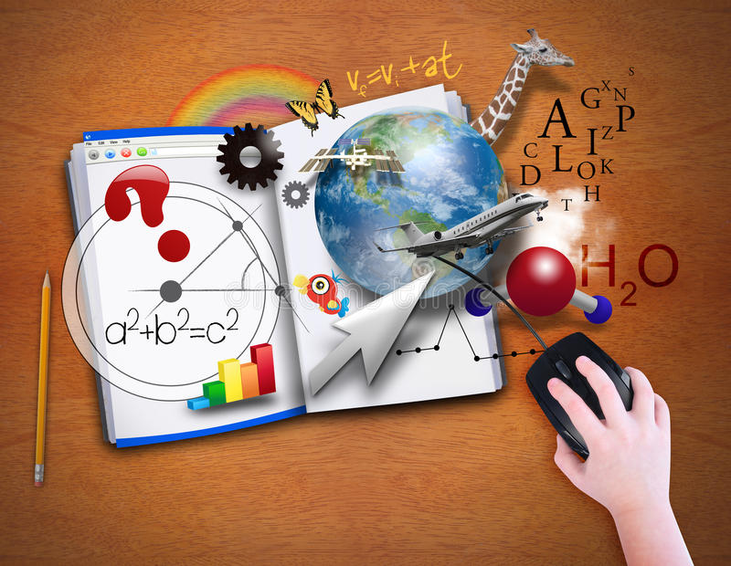 Open Computer Book with Mouse. A child is looking at an open book as a computer with math, science and animals coming out for a school or e learning concept stock illustration
