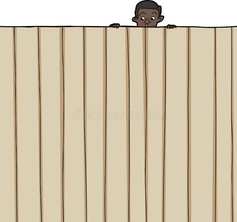 Child Looking Over Fence royalty free illustration