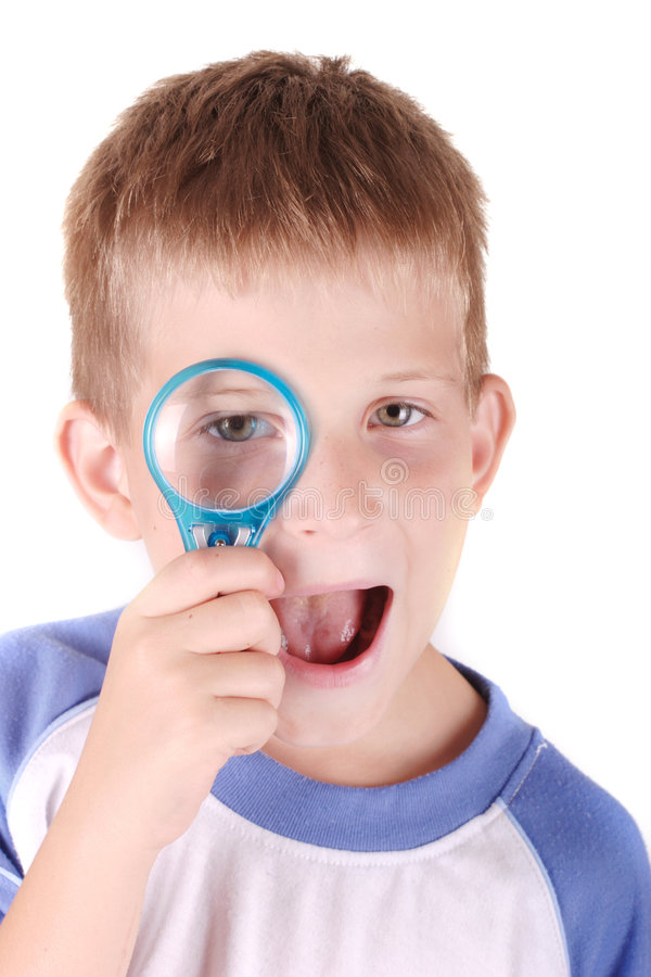 Download Child with loupe stock photo. Image of funny, joyful, indoor - 7266530