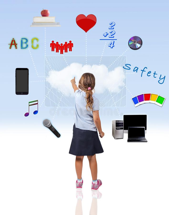 Child Cloud Computing And School Education royalty free stock images