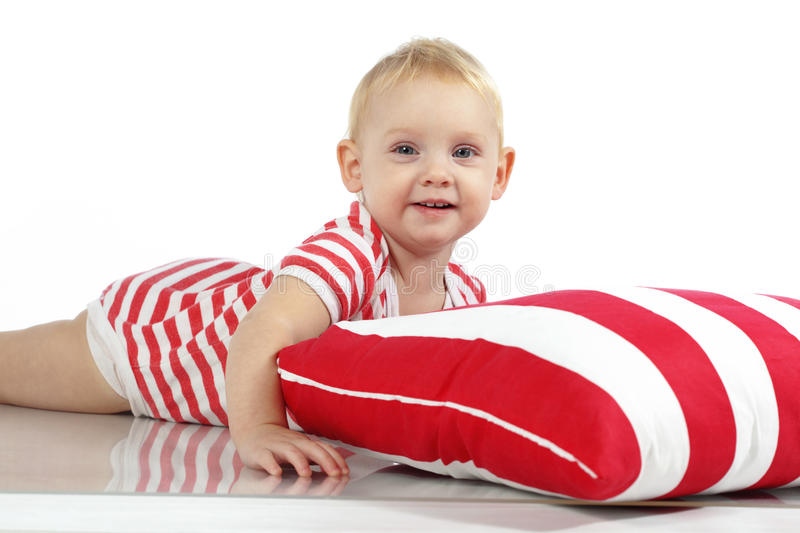 Download Child lying with pillow stock photo. Image of bedtime - 28624242