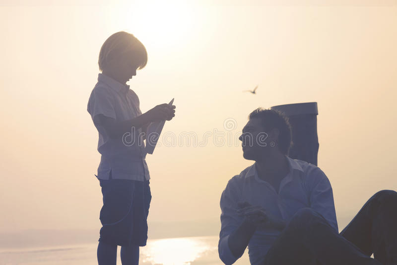 Child makes fly his paper airplane royalty free stock image
