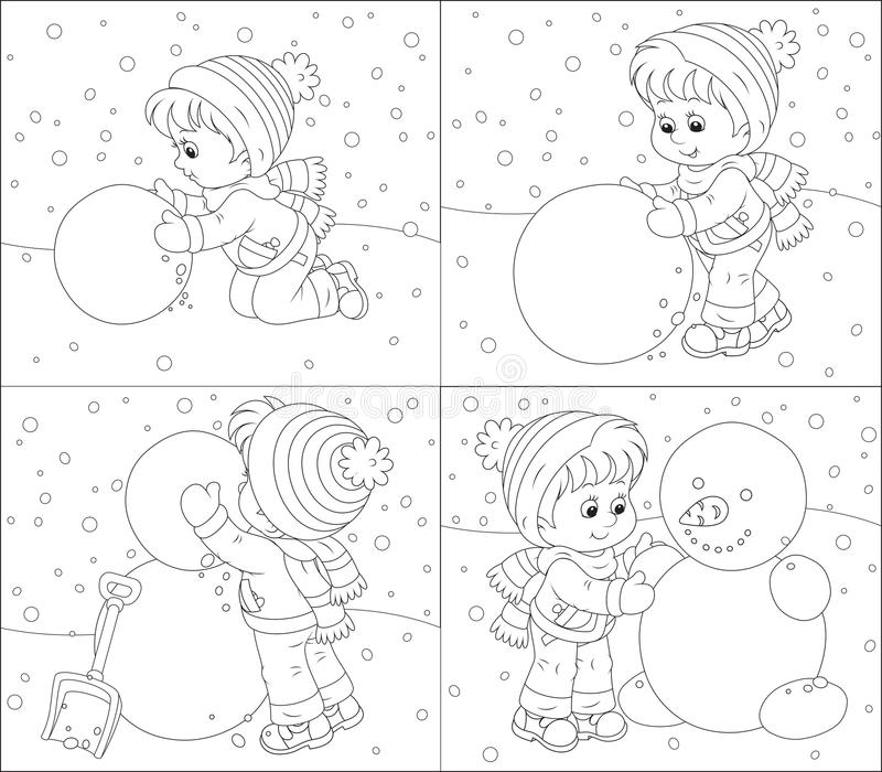 Child makes a snowman royalty free illustration