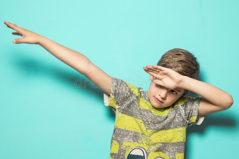 Child making DAB. Kid dancing dab stock photos