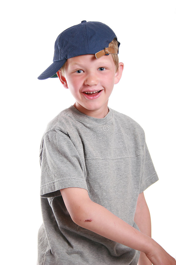Child making funny face. A portrait of child making a cute funny face stock photos
