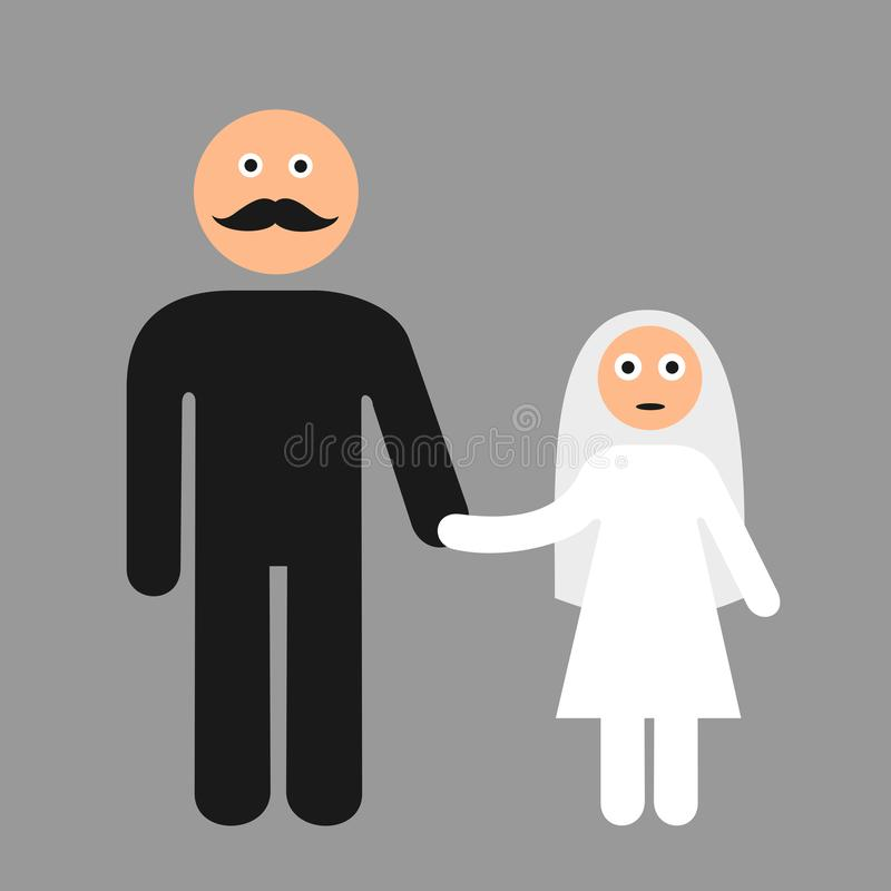 Free Child Marriage - Old Adult Groom Is Going To Marry Young Underage Minor Girl, Child Bride Royalty Free Stock Photography - 135711997