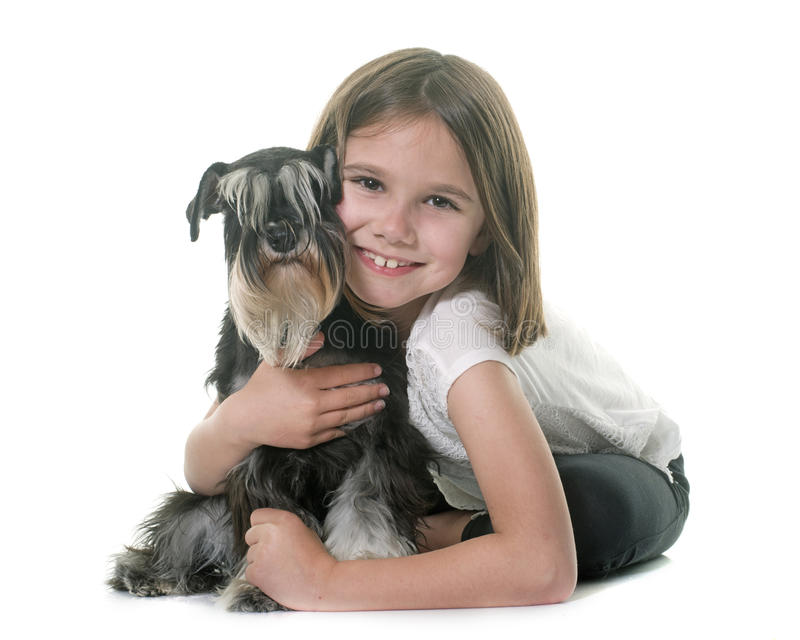 Child and miniature schnauzer royalty free stock image