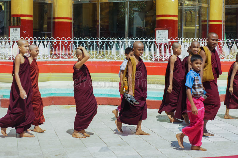 Child Monks Shwe Maw Daw Pagoda Myanmar or Burma. Child monks - Shwe Maw Daw Pagoda (Shwemawdaw Pagoda), Myanmar or Burma royalty free stock images