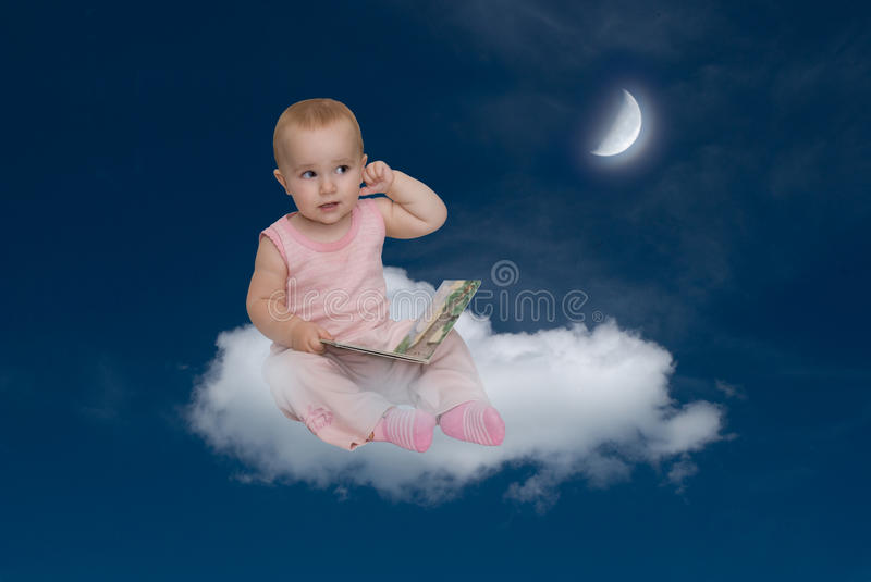 The child and the moon stock photography