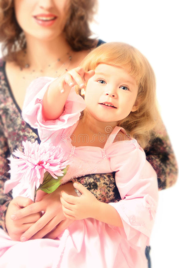Child in the mothers hands royalty free stock photo