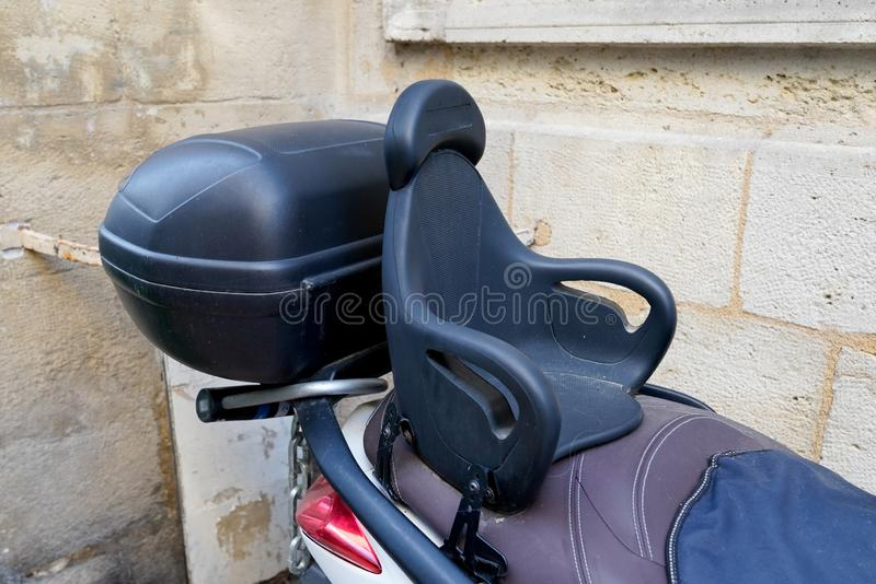 Child motorbike seat for kid child motorcycle scooter royalty free stock image