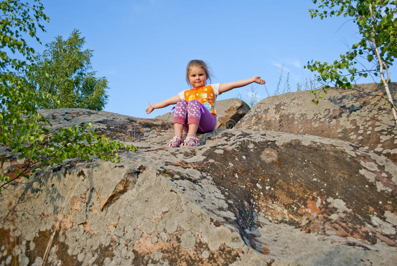 The child on the nature stock photography