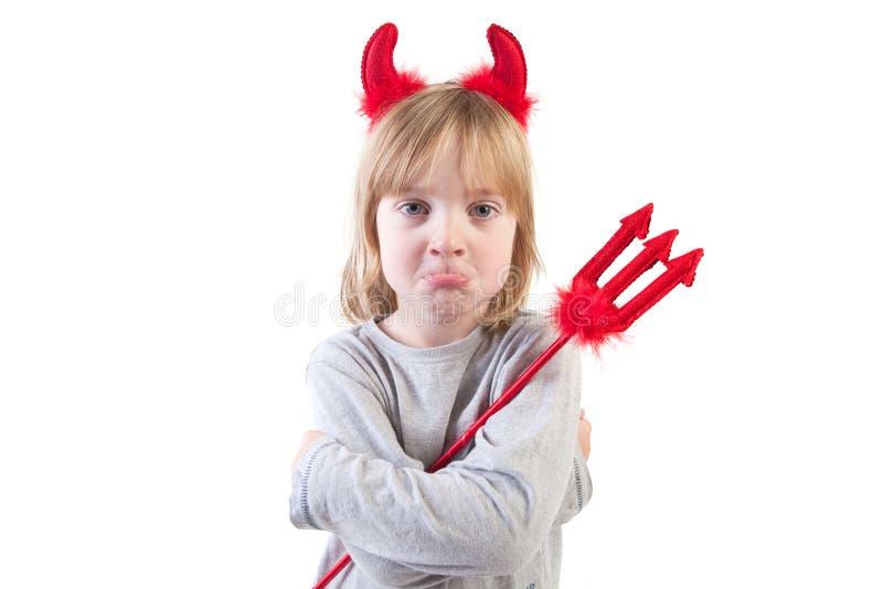 Child naughty devil halloween stock image