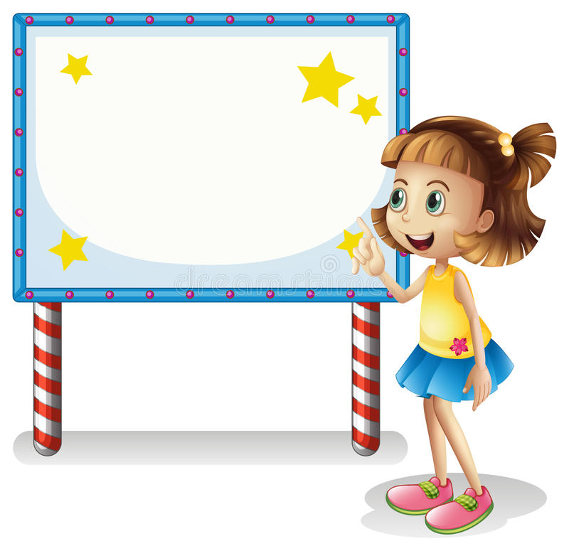 Download A Child Near The Empty Board With Series Lights Stock Vector - Illustration: 31092402