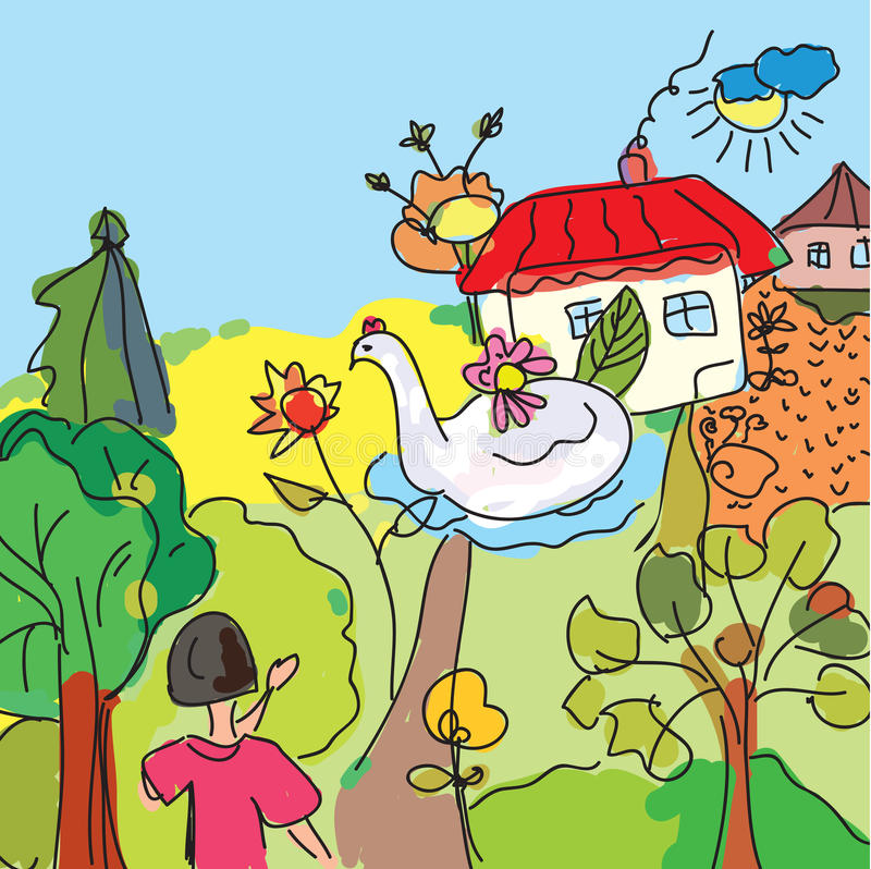 Child near the house in trees vector illustration