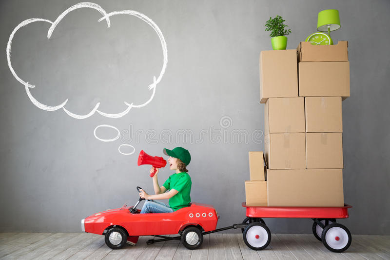 Child New Home Moving Day House Concept royalty free stock image
