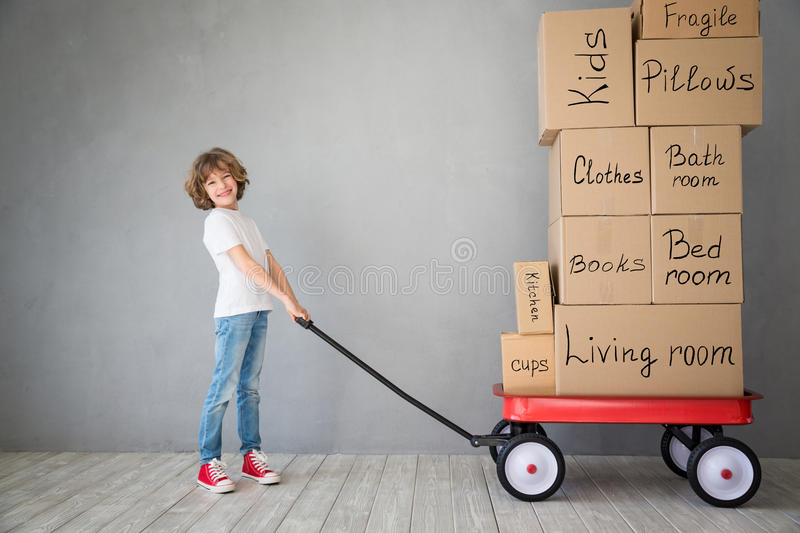 Child New Home Moving Day House Concept royalty free stock photo