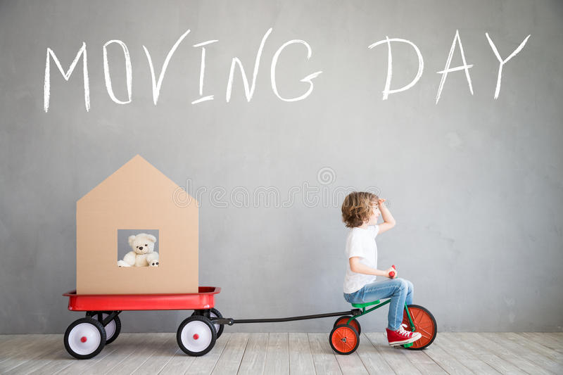 Child New Home Moving Day House Concept Stock Photo