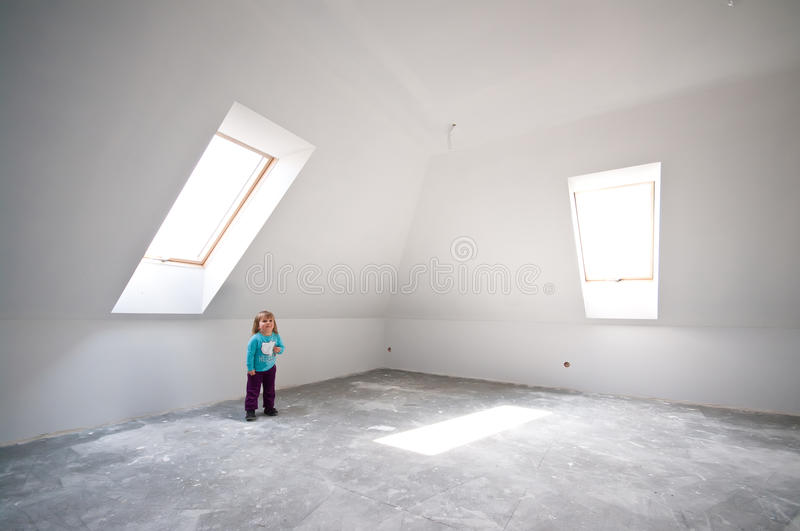 Child In New Loft Room Royalty Free Stock Photos