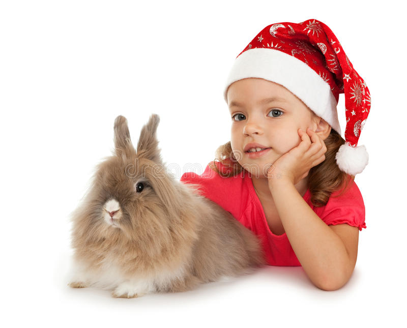 Download Child In The New Year Hat With A Rabbit. Stock Photo - Image of funny, 2011: 15974312