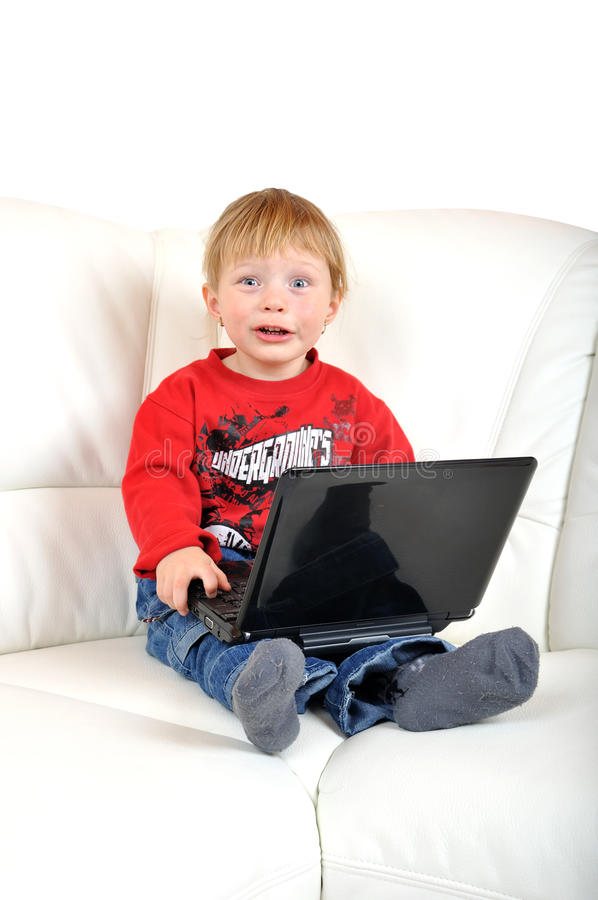 Child with notebook stock photo