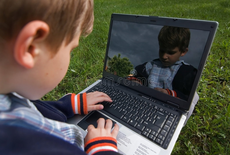 Child with notebook outdoor stock illustration