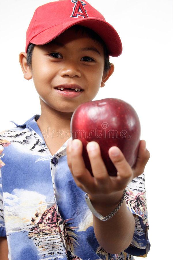 Download Child offering apple stock photo. Image of happy, thanks - 172604