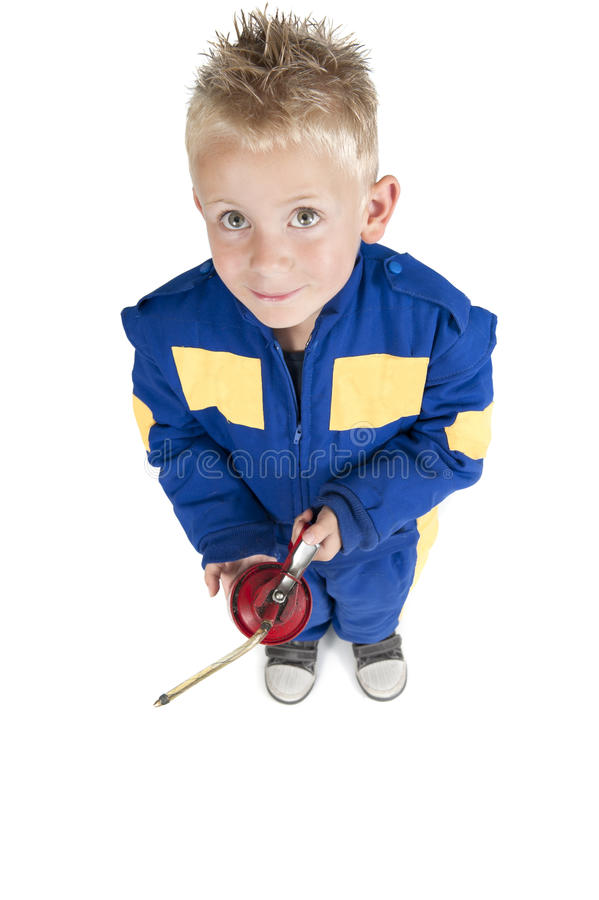 Child With Oil Pipette In Coverall On White Stock Images