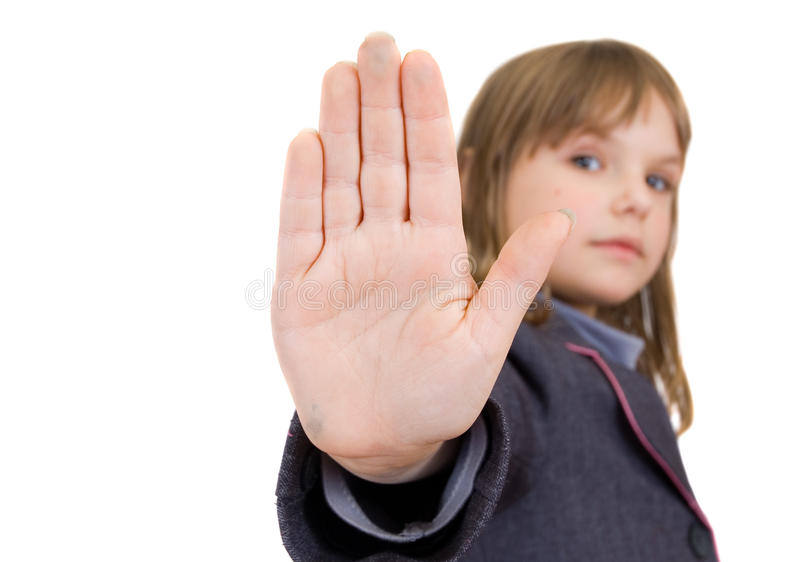 Child with an open palm. Isolated stock images