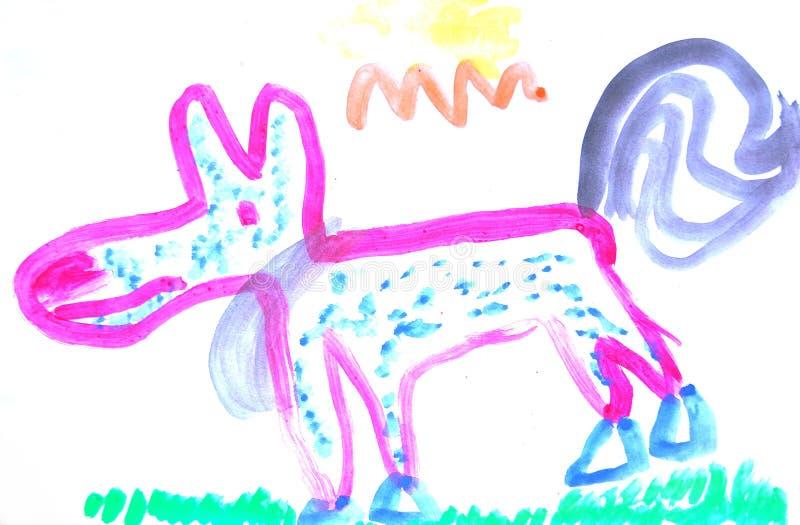 Child painting dog vector illustration