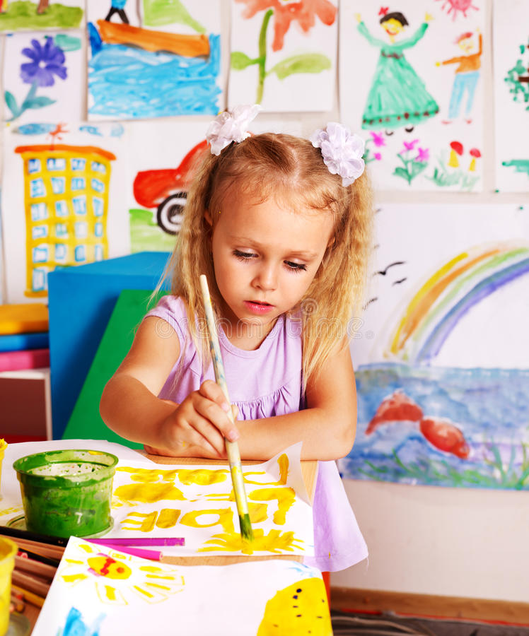 Download Child painting at easel. stock image. Image of drawing - 38714047