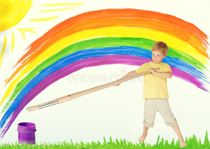 Child Painting Rainbow, Creative Kid Draw Color Art Image, Child royalty free stock photos