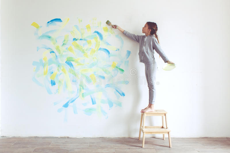Child painting wall stock image image of hand helper for Style at home instagram