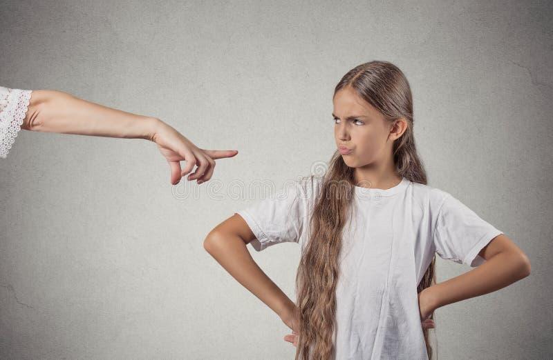 Child parent confrontation stock photography