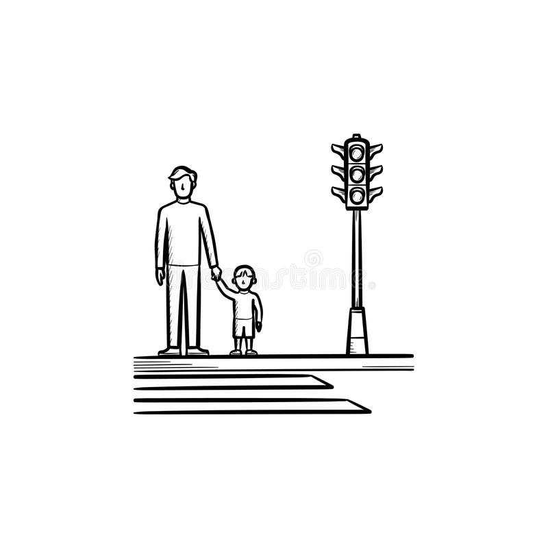 Child and parent crossing a sidewalk sketch icon. stock illustration