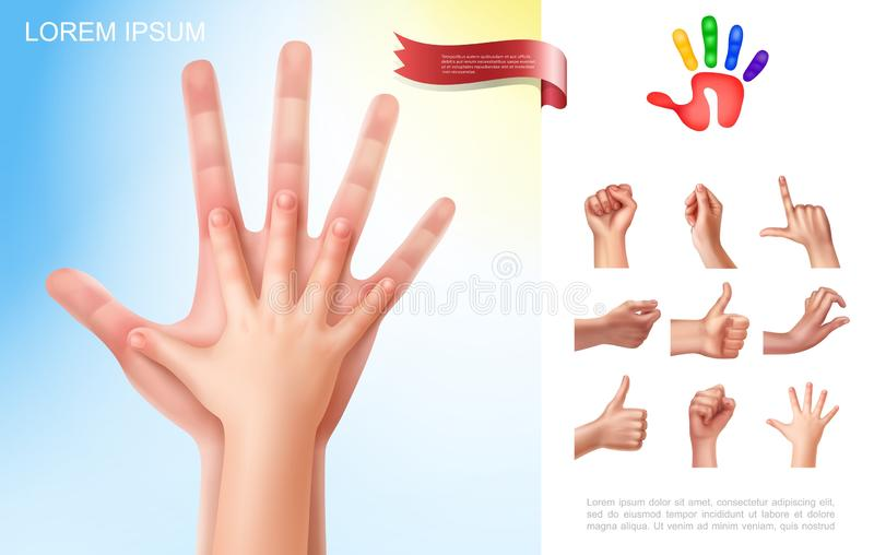 Child And Parent Hands Concept. With different female hand gestures in realistic style vector illustration stock illustration