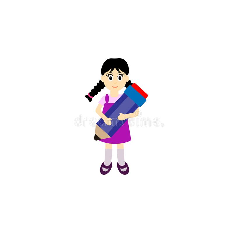 Child with pencil in hand Vector. Cartoon. Isolated art stock illustration