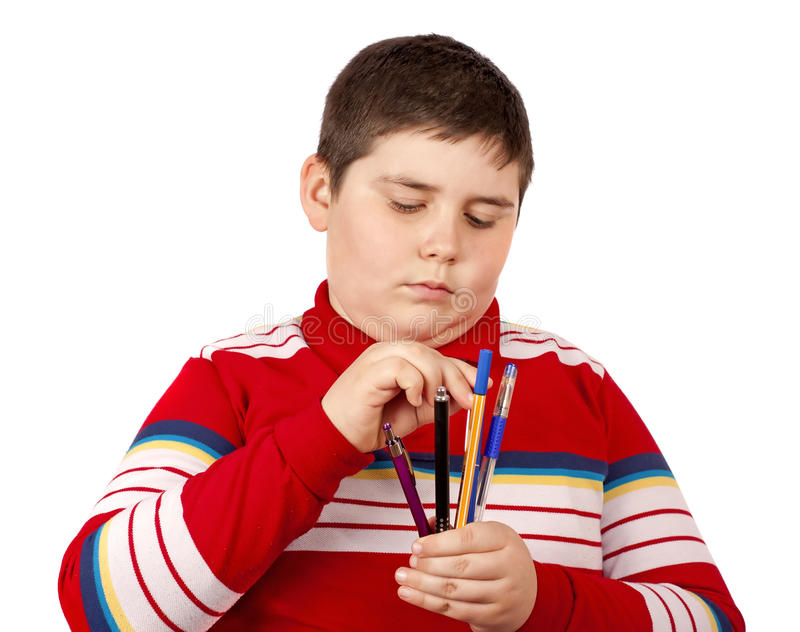Download Child with pens stock image. Image of background, caucasian - 19033513