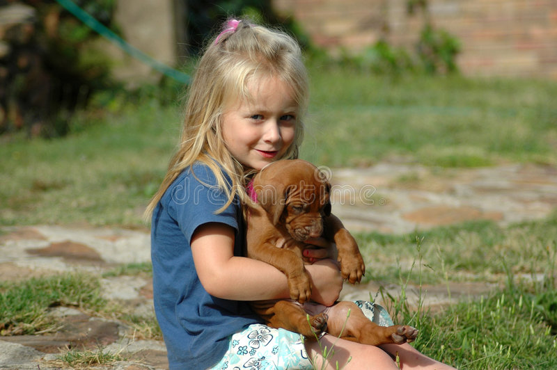 Child and pet royalty free stock photos