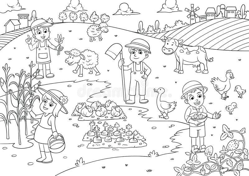 Kleurplaat Mobiele Telefoon Child And Pet In Thefarm Cartoon For Coloring Stock Vector