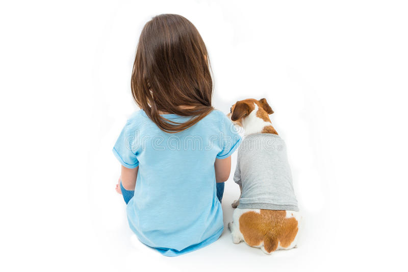 Child with pet stock photo