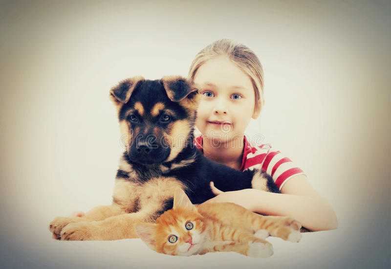 Child and pets stock photo