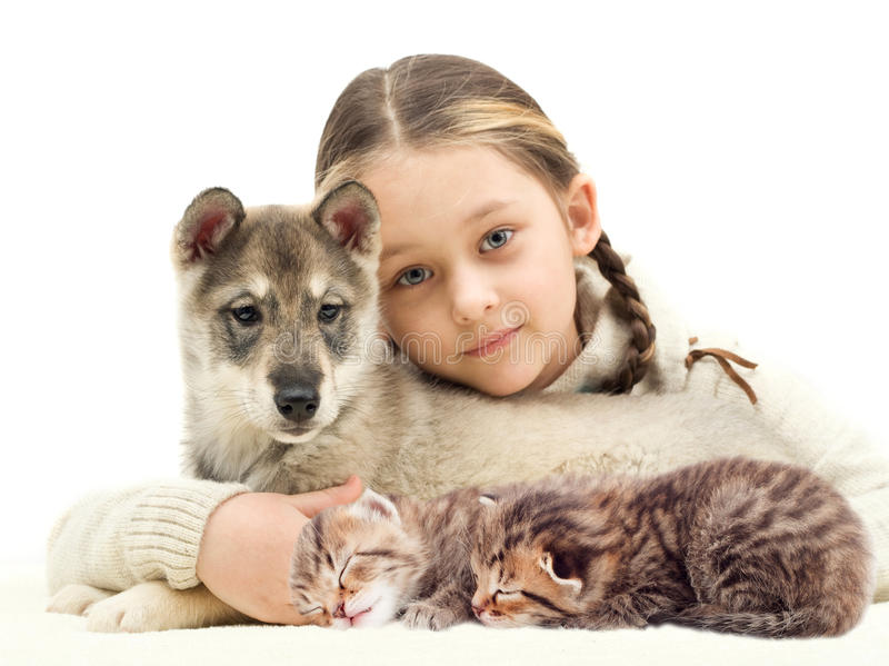 Child and pets stock image